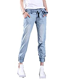 Women's Relaxed Straight Denim Cropped Trousers Jeans Plus Size