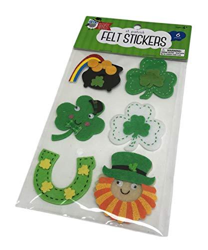 - Happy St. Patrick's Day 6 Piece 3D Embellished Felt Stickers Shamrocks Pot of Gold Horse Shoe & Irish Leprechaun