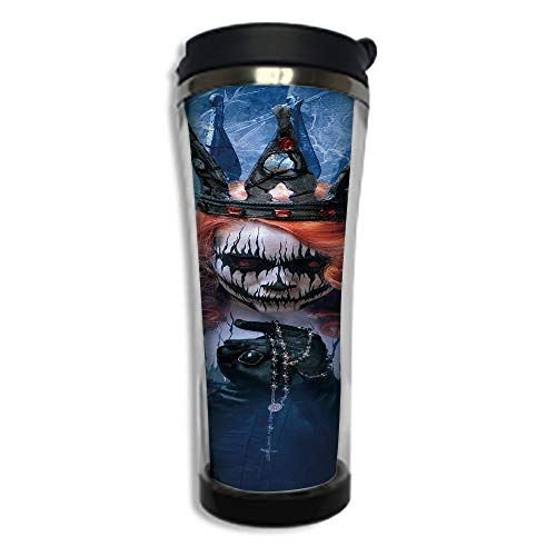 Customizable Travel Photo Mug with Lid - 14.2OZ(420 ml) Stainless Steel Travel Tumbler, Makes a Great Gift by,Queen,Queen of Death Scary Body Art Halloween Evil Face Bizarre Make Up Zombie,Navy Blue O -