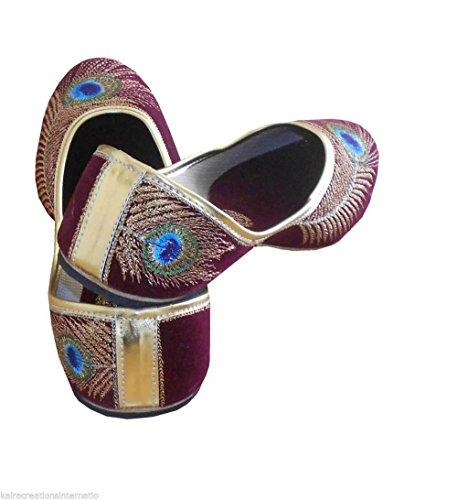 Kalra Creations Ballerines en velours traditionnel indien pour femmes Marron