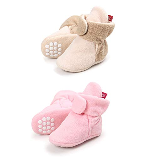 (Tutoo Unisex-Baby Newborn Fleece Bootie Infant Boys Girls Winter Warm Cotton Slippers Soft First Walkers Shoes (4.33 inches(3-6 Months), 2 Pairs(Pink+Beige)))