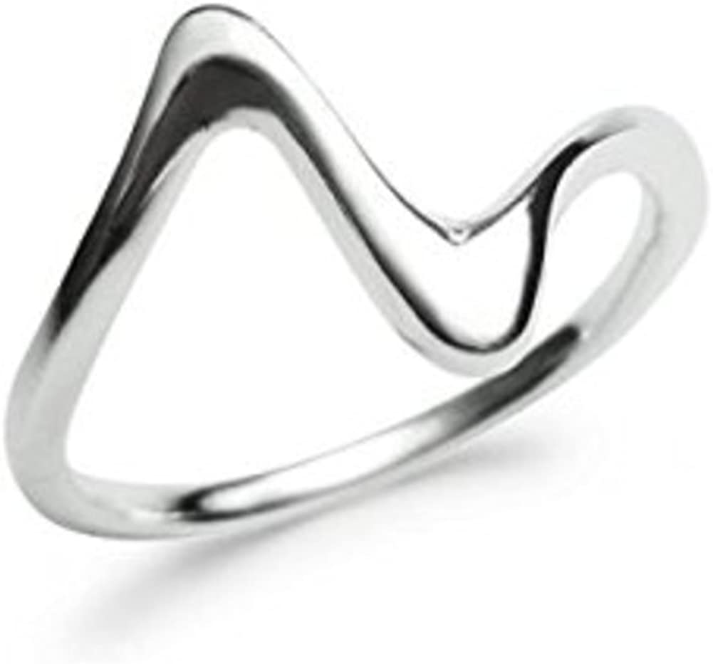 Size 5-10 Sterling Silver Wave Minimalist Band Ring
