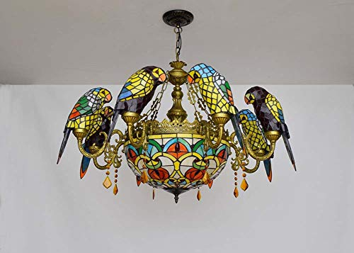 Tiffany Suspension Lamp - Tiffany Style Chandelier American Pastoral Parrot Design Stained Glass Pendant Light Multi-Head Creative Crystal Hanging Ceiling Lamp For Living Room Dining Room Bedroom Suspension Lamp /ceiling lamps