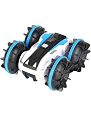 Tobeape Waterproof RC Car, 2.4Ghz 4WD Stunt Car Remote Control Amphibious Off Road Electric Race Cars with 2 Sides Tank Vehicle 360° Spins & Flips Water & Land Electric Stunt Car