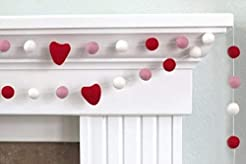Red, Pink, White Felt Ball and Heart Val...