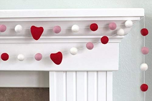 Red, Baby Pink, White Felt Ball and Heart Valentine's Day Garland- 1