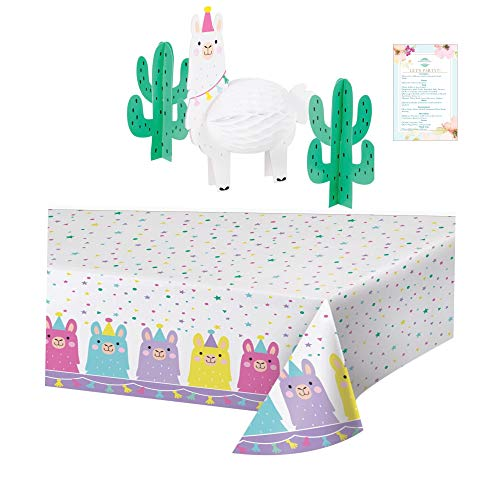 Llama Plastic Table Cover and 3pc Centerpiece (Party Planning Checklist Included)