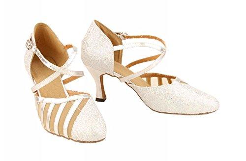 Minitoo Ly129 Womens Sparkle Satijn Salsa Tango Ballroom Latin Party Dansschoenen Wit