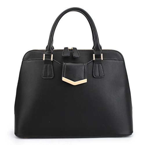 Dasein Designer Dome Satchel Top Handle Shoulder Bag Zip Around Purse Medium w/ Front Pocket (Designer Dome)