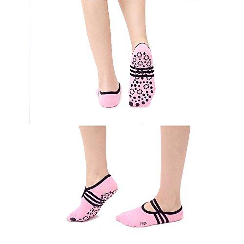 Pilates Pink 3 with Non Cotton Pilates Socks Yoga Dance Black Grips Pair Yoga Slip Skid Women Light Girl for Purple Socks Fitness Ballet wXf5q0qRT