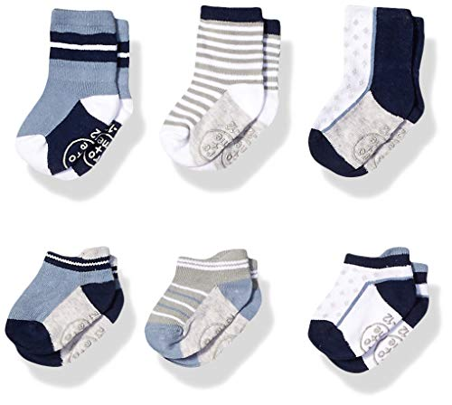 - Ro + Me by Robeez Baby Boys 6-Pack Socks, Brian navy/light blue, 6-12 Months
