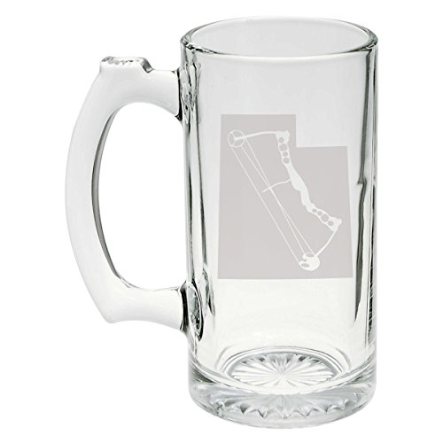 State of Utah with Compound Bow Archery Hunting Etched Stein Glass 25oz, Mug