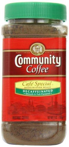 - Community Coffee Café Special Decaf Medium Dark Roast Premium Instant 7 Oz Jar (4 Pack), Full Body Rich Flavorful Taste, 100% Select Arabica Coffee Beans
