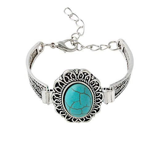 victoriasong Antique Silver Color Oval Stone Adjustable Size Chain Bracelet Bangle for Girls Gift Bijoux