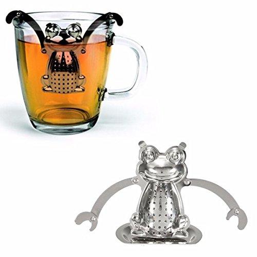 DIY Stainless Grit one's teeth Frog Loose Leaf Infuser Tea Filter Herbal Spice Strainer