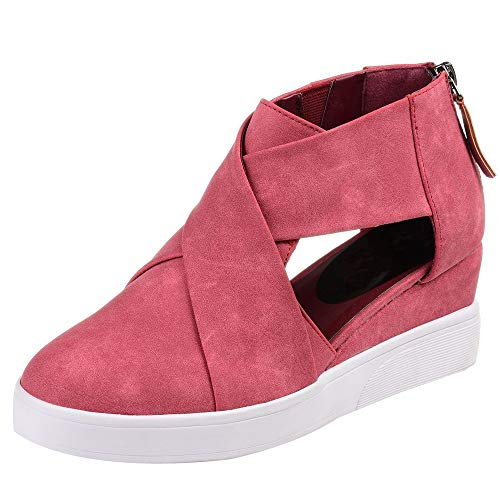 Pink Casual Party Increase Shoes Cross Shoes Women Inside Solid Fashion Matte Sexy Hollow FALAIDUO Wedges Zipper Color nX6a7YE