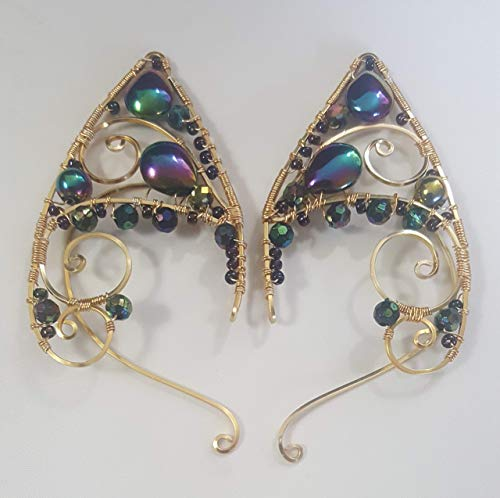 Elf Ears, Peacock Iridescent Teardrop Crystals & Gold Wire Wrapped Renaissance Fairy Elven Ear Cuffs for Non-Pierced Ears