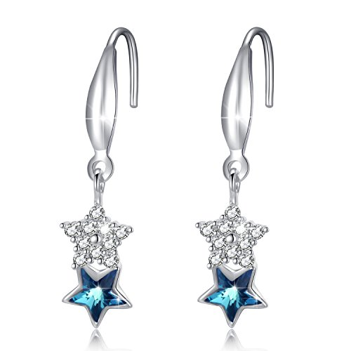 Sterling Silver Swarovski Crystal Ocean Star Drop Dangle Women Fine Pierced Earrings Jewelry Gift