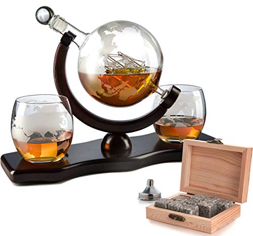 The Wine Savant World Decanter - With 2 Globe Glasses, Perfect Gift, Includes Whiskey Stones For Whiskey, Scotch, Bourbon or Wine Matching Globe Glasses, HOME BAR DECOR ()