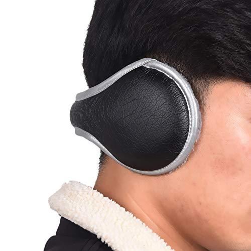 Ear Warmers Winter Foldable Fleece Warm Outdoor Earmuffs Unisex Adjustable Ear Muffs for Men Women (Black)