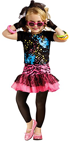 Tv Star Fancy Dress Costumes (UHC Girl's Disco Rock Star 80's Pop Party Fancy Dress Toddler Halloween Costume, S (3T-4T))