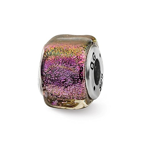 925 Sterling Silver Charm For Bracelet Purple Dichroic Glass Square Bead Glas Fine Jewelry Gifts For Women For Her