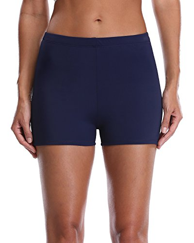 Sociala Swim Shorts for Women Navy High Waisted Bathing Suit Bottoms Size 18 (Spandex Piece Two Tankini)