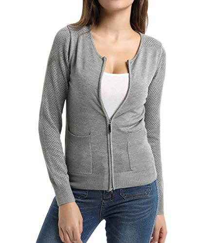 Women Open Front Knit Zipper Sweater Cropped Bolero Shrug Cardigan Grey-26 XL