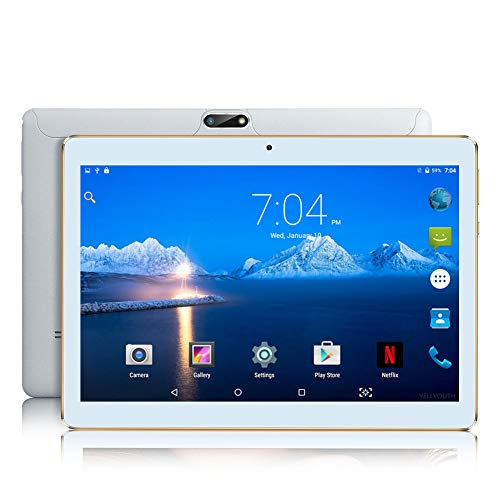 Android Tablet with Sim Card Slot Unlocked 10 inch - YELLYOUTH 10.1 in Octa Core 4GB RAM 64GB ROM 3G GSM Phone Call Tablets with WiFi GPS Bluetooth Dual Cameras (White)