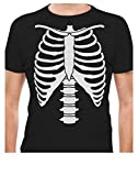 Halloween Skeleton Rib Cage Xray Front and Back Print Easy Costume T-Shirt X-Large Black