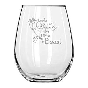 Looks Like a Beauty, Drinks Like a Beast - Rose - Disney Princess Wine Glass - Birthday Glass - Disney Gift - Gifts for Friend - Girlfriend Anniversary - Couples Gifts - Mermaid - Movie Themed