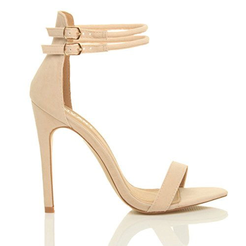 Size Heel High Women Sandals Nude Strappy Shoes There Suede Beige Ajvani Barely AFUxa8wAq
