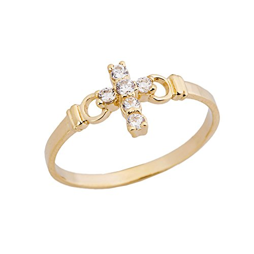 Elegant 10k Yellow Gold CZ Christian Cross Ring (Size ()