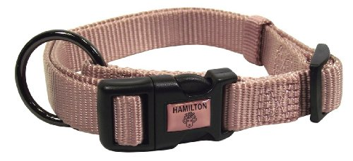 Hamilton Gun Metal Series Adjustable Dog Collar, 5/8-Inch, Rose Quartz