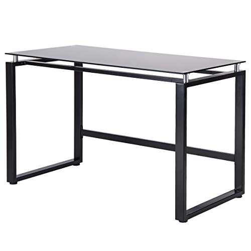 Merax Home Office Computer Desk Simple Design Table Workstation with Glass Top (Black) (Table Desk Glass)