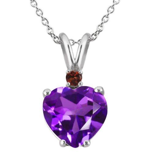 18k White Gold Amethyst Pendant (1.64 Ct Heart Shape Purple Amethyst Red Garnet 18K White Gold Pendant)