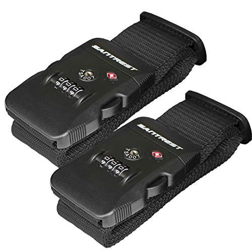 SANTREST Travel Luggage Strap Adjustable Suitcase Packing Belt with TSA Combination Lock(Black 2 ()