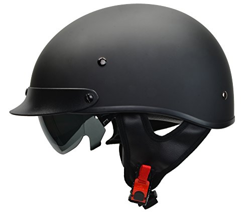 Vega Helmets Warrior Motorcycle Half Helmet with Sunshield for Men & Women, Adjustable Size Dial DOT Half Face Skull Cap for Bike Cruiser Chopper Moped Scooter ATV (Large, Matte Black)
