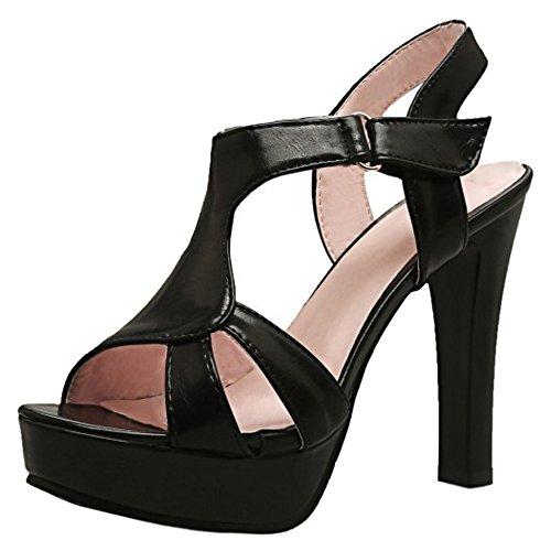 TAOFFEN Women Elegant Platform Block High Heel Sandals Party Dress Shoes Black