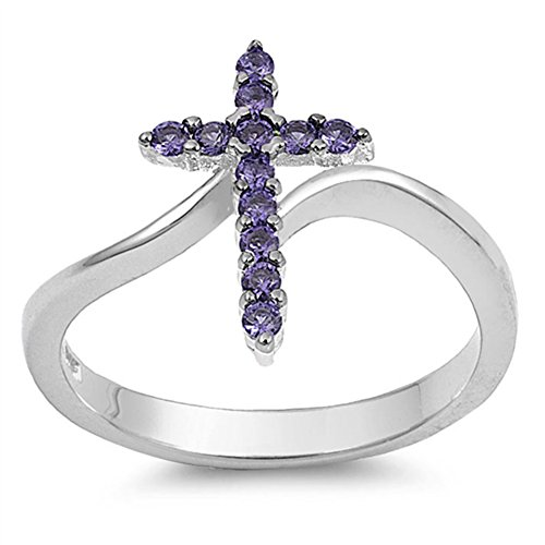 Cross Simulated Amethyst Christian Love Ring New .925 Sterling Silver Band Size 9