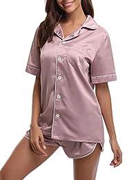 Abollria pijama de manga corta de satén de seda para dama, conjunto de pijama suave de dos piezas