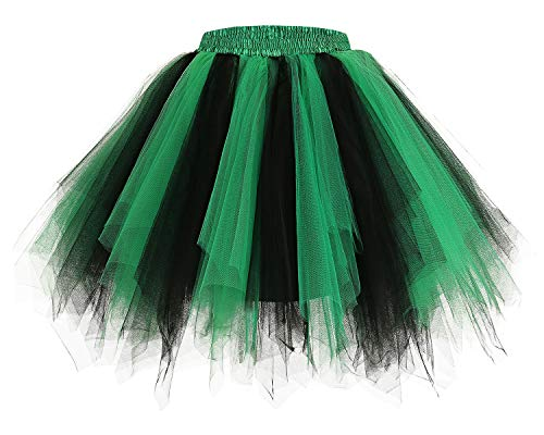 Bridesmay Women's Tutus Tulle Skirt 50s Vintage Petticoat Ballet Bubble Skirts Black-Green L
