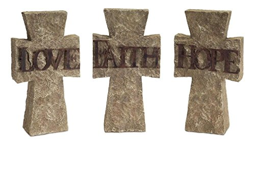 """Pack of 3 of an Assortment of 3 Faith, Hope, and Love Inspirational Crosses 10.75""""H by Diva At Home"""