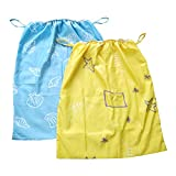 Diaper Pail Liner,Washable & Reusable Storage Bag for Cloth Diaper 2 Pack (Blue, Yellow)
