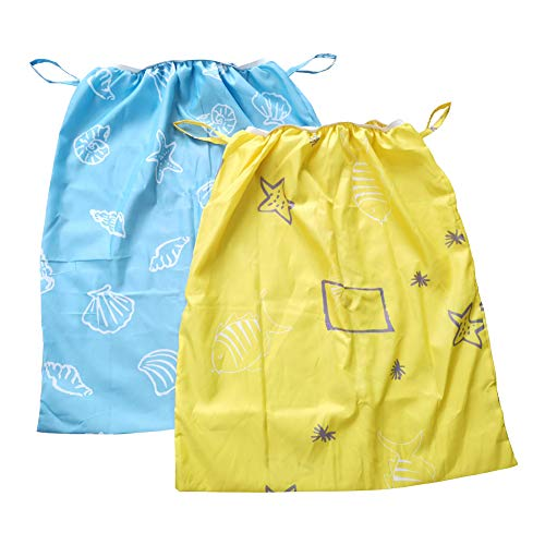 (Diaper Pail Liner,Washable & Reusable Storage Bag for Cloth Diaper 2 Pack (Blue, Yellow) )