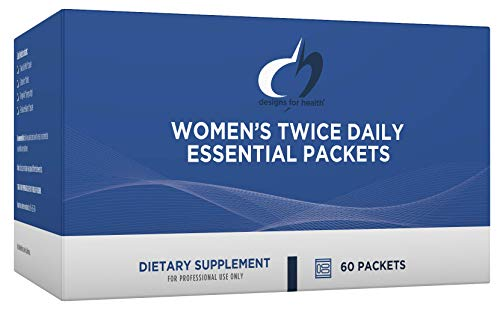 Designs for Health Women's Twice Daily Essential Packets – Vitamin Packs with Iron-Free Multivitamin, OsteoForce Bone Support, OmegAvail Fish Oil + FemGuard+Balance (60 Packets)