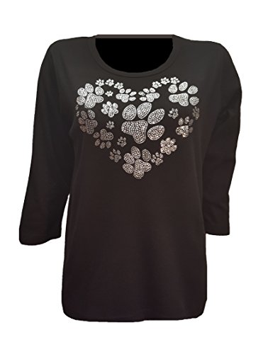 Dog Paw Print Heart Bling Black T-Shirt with Rhinestones. (Lg)