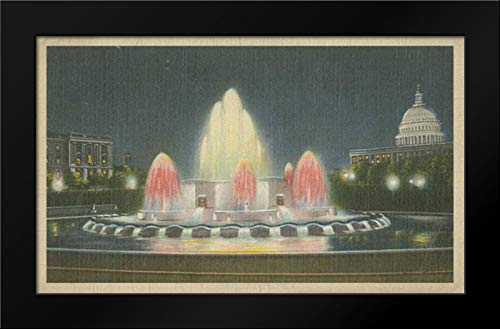 Illuminated Fountain Capitol Plaza 18x13 Framed Art Print by Unknown