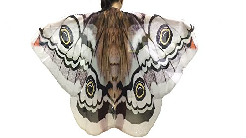 Feather Cape Costume (Ryshman Women Cape Halloween Shawl Wrap Printed Butterfly Wing/Peacock/Pumpkin Cloak (White butterfly))