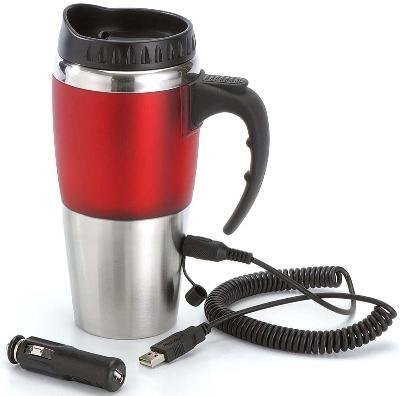 Dual USB & 12V Heated Mug - RED